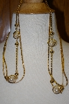 "**MBA #25-429  Gold Plated Double Strand Faux Pearl 40"" Necklace"