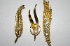 +MBA #25-489  3 Pieces Of Gold Plated Vintage Jewerly
