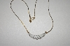 **MBA #S4-330  Avon Gold Tone White Acrylic Necklace