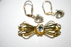**MBA #25-334  Vintage Gold Plated Pin & Earring Set