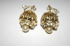 **MBA #25-384  Vintage Gold Plated Screw Back Earrings