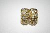 **MBA #25-339  Gold Plated Clear Crystal Clip On Earrings