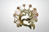 +MBA #25-399  Gold Tone Mother Of Pearl & Rhinestone Pin