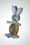 +MBA #25-353  Blue Glass Vintage Bunny Pin