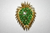 +MBA #25-834  Vintage Gold Plated Green Rhinestone Pin