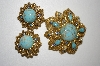 **MBA #25-1 Vintage Florenza Faux Turquoise Pin/Pendant & Matching Clip On Earrings