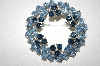 Trifari Rhodium Plated Two Shades Of Blue Rhinestone Pin