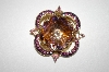 **MBA #25-822  Corocraft Gold Plated Lavender Glass & Rhinestone Pin