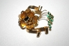 +MBA #25-790  Vintage Gold Plated  Green Rhinestone Flower Pin