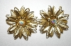 **MBA #25-802  Vintage Gold Plated Flower Clip Ons
