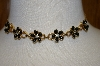 Vintage Black Enamel & Rhinestone Flower Necklace & Bracelet Set