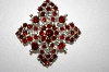 +MBA #25-684  Vintage Silver Tone Red Rhinestone Pin