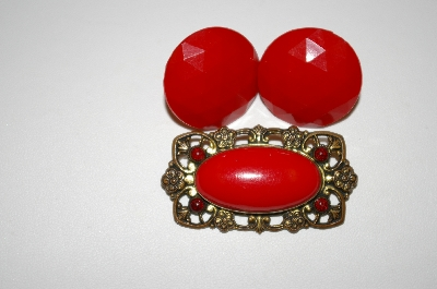 **MBA #25-691  Vintage Red Acrylic Pin & Screw Back Earrings