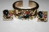 **MBA #25-813  Vintage Gold Plated Rhinestone Cuff & Matching Earrings