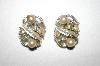 **MBA #25-657  Vintage SilverTone Faux Pearl & AB Rhinestone Clip On's