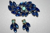 **Vintage Blue Rhinestone Pin & Clip On Earring Set