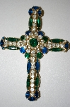 **MBA #25-585  Vintage Multi Colored Rhinestone Cross Pendant