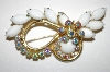 +MBA #26-621  Vintage White Glass & AB Crystal Pin