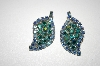 Vintage Blue AB Crystal Clip On Leaf Earrings