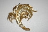 Trifari Gold Tone Clear Crystal Brooch