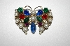 +MBA #25-637  Vintage Glass Pearl & Multi Colored Rhinestone Butterfly Pin