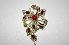 +MBA #25-650  Vintage Silver Tone Red Rhinestone Pin