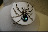 Large Blue Crystal Spider Pin