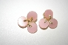 Star Gold Tone Pink Acrylic Disc Clip On Earrings