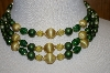 **MBA #25-550  Vintage Made In Japan 3 Row Green Acrylic Bead Necklace & Matching Clip On's