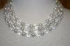 Vintage 3 Row Clear Acrylic & Faux Pearl Necklace