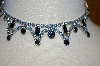 **MBA #25-563  Vintage Two Shades Of Blue Rhinestone Necklace With Matching Pierced Earrings
