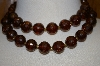 **Vintage Brown Acrylic Glitter Bead Necklace With Matching Clip On Earrings