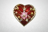 +MBA #25-289  Vintage Gold Tone Enameled Heart Pin