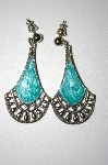 **MBA #25-306  Avon Silvertone Green Enameled Pierced Earrings