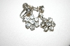 **MBA #25-419  Vintage Silver Tone Screw Back Clear Rhinestone Earrings