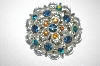 +MBA #24-117  Vintage Silver Tone AB Blue & Pink Rhinestone Pin