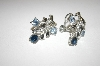 **MBA #24-121  Coro Silver Tone Blue Rhinestone Earrings