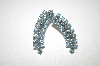 **MBA #21-132  Coro Blue Rhinestone Silver Tone Clip On Earrings