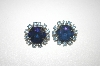 **MBA #24-135  Vintage Round Blue Rhinestone Clip On Earrings