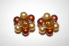 +MBA #25-259  Vintage Made In Hong Kong Clip On Bead Earrings