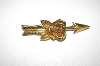 **MBA #25-196  Coro Gold Tone Rose Arrow Pin