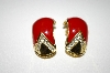 **MBA #25-255   Vintage Gold Tone Red Enamel Clip On Earrings