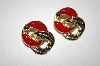 +MBA #25-251  Vintage Gold & Silver Tone Red Enamel Pierced Earrings