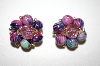 +MBA #25-257   Vintage Made In Hong Kong Acrylic Bead Clip On Earrings