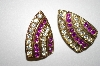 **MBA #25-264   Vintage Gold Tone Pink & Clear Rhinestone Clip On Earrings