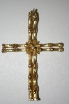 **MBA #25-272   Vintage Gold Tone Bamboo Style Cross Pendant
