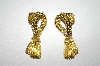 +MBA #25-323  Vintage Gold Tone Tassle Style Pierced Earrings