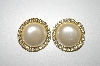 **MBA #25-320   Vintage Faux Pearl & Clear Rhinestone Clip On Earrings