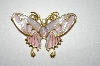 +MBA #25-296   Vintage Gold Plated Enameled Butterfly Pin