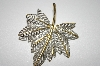 +MBA #25-275   Vintage Silver & Gold Tone Leaf Pin